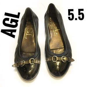 AGL Black Leather Ballet Flats w/patent toe caps